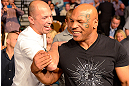 LAS VEGAS, NV - MAY 25:   (L-R) UFC Hall of Famer Royce Gracie and former professional boxer Mike Tyson in attendance during UFC 160 at the MGM Grand Garden Arena on May 25, 2013 in Las Vegas, Nevada.  (Photo by Donald Miralle/Zuffa LLC/Zuffa LLC via Getty Images)  *** Local Caption *** Mike Tyson; Royce Gracie