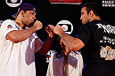 "FORTALEZA, BRAZIL - JUNE 06:  (L-R) Opponents Antonio Rodrigo ""Minotauro"" Nogueira and Fabricio Werdum face off at Centro de Eventos do Ceara on June 6, 2013 in Fortaleza, Ceara, Brazil.  (Photo by Josh Hedges/Zuffa LLC/Zuffa LLC via Getty Images)"