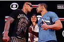 "FORTALEZA, BRAZIL - JUNE 06:  (L-R) Opponents Thiago Silva and Rafael ""Feijao"" Cavalcante face off at Centro de Eventos do Ceara on June 6, 2013 in Fortaleza, Ceara, Brazil.  (Photo by Josh Hedges/Zuffa LLC/Zuffa LLC via Getty Images)"