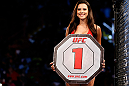 FORTALEZA, BRAZIL - JUNE 08:  UFC Octagon Girl Camila Rodrigues de Oliveira introduces a round during the UFC on FUEL TV event at Paulo Sarasate Arena on June 8, 2013 in Fortaleza, Ceara, Brazil.  (Photo by Josh Hedges/Zuffa LLC/Zuffa LLC via Getty Images)