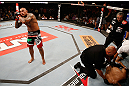 FORTALEZA, BRAZIL - JUNE 08:  Thiago Silva reacts after knocking out Rafael