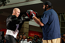 WINNIPEG, CANADA - JUNE 12:  (L-R) Sean Pierson works out with former CFL football player Obby Khan during an open workout session for fans and media at Portage Place on June 12, 2013 in Winnipeg, Manitoba, Canada.  (Photo by Josh Hedges/Zuffa LLC/Zuffa LLC via Getty Images)