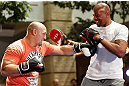 WINNIPEG, CANADA - JUNE 12:  (L-R) Shawn Jordan works out with former CFL football player Lamar McGriggs during an open workout session for fans and media at Portage Place on June 12, 2013 in Winnipeg, Manitoba, Canada.  (Photo by Josh Hedges/Zuffa LLC/Zuffa LLC via Getty Images)