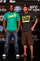 WINNIPEG, CANADA - JUNE 13:  (L-R) Opponents Rashad Evans and Dan Henderson pose for photos during the UFC 161 media day at The Met on June 13, 2013 in Winnipeg, Manitoba, Canada.  (Photo by Josh Hedges/Zuffa LLC/Zuffa LLC via Getty Images)
