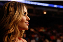 WINNIPEG, CANADA - JUNE 15:  UFC Octagon Girl Brittney Palmer looks on during the UFC 161 event at the MTS Centre on June 15, 2013 in Winnipeg, Manitoba, Canada.  (Photo by Josh Hedges/Zuffa LLC/Zuffa LLC via Getty Images)
