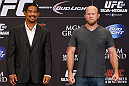 LAS VEGAS, NV - JULY 04:  (L-R) Opponents Mark Munoz and Tim Boetsch pose for photos during the final UFC 162 press conference at the MGM Grand Hotel/Casino on July 4, 2013 in Las Vegas, Nevada.  (Photo by Josh Hedges/Zuffa LLC/Zuffa LLC via Getty Images)