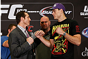 LAS VEGAS, NV - JULY 04:  (L-R) Opponents Tim Kennedy and Roger Gracie face off during the final UFC 162 press conference at the MGM Grand Hotel/Casino on July 4, 2013 in Las Vegas, Nevada.  (Photo by Josh Hedges/Zuffa LLC/Zuffa LLC via Getty Images)