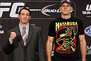 LAS VEGAS, NV - JULY 04:  (L-R) Opponents Tim Kennedy and Roger Gracie pose for photos during the final UFC 162 press conference at the MGM Grand Hotel/Casino on July 4, 2013 in Las Vegas, Nevada.  (Photo by Josh Hedges/Zuffa LLC/Zuffa LLC via Getty Images)