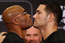 LAS VEGAS, NV - JULY 04:  (L-R) Opponents Anderson Silva and Chris Weidman face off during the final UFC 162 press conference at the MGM Grand Hotel/Casino on July 4, 2013 in Las Vegas, Nevada.  (Photo by Josh Hedges/Zuffa LLC/Zuffa LLC via Getty Images)