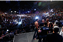 LAS VEGAS, NV - JULY 05:  A general view of the arena as opponents Anderson Silva and Chris Weidman face off during the UFC 162 weigh-in at the Mandalay Bay Events Center on July 5, 2013 in Las Vegas, Nevada.  (Photo by Josh Hedges/Zuffa LLC/Zuffa LLC via Getty Images)