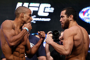 LAS VEGAS, NV - JULY 05:  (L-R) Opponents Edson Barboza and Rafaello Oliveira face off during the UFC 162 weigh-in at the Mandalay Bay Events Center on July 5, 2013 in Las Vegas, Nevada.  (Photo by Josh Hedges/Zuffa LLC/Zuffa LLC via Getty Images)