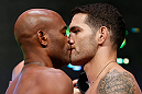 LAS VEGAS, NV - JULY 05:  (L-R) Opponents Anderson Silva and Chris Weidman face off during the UFC 162 weigh-in at the Mandalay Bay Events Center on July 5, 2013 in Las Vegas, Nevada.  (Photo by Josh Hedges/Zuffa LLC/Zuffa LLC via Getty Images)