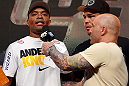 LAS VEGAS, NV - JULY 05:  (L-R) Anderson Silva is interviewed by Joe Rogan after weighing in during the UFC 162 weigh-in at the Mandalay Bay Events Center on July 5, 2013 in Las Vegas, Nevada.  (Photo by Josh Hedges/Zuffa LLC/Zuffa LLC via Getty Images)