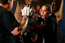 SEATTLE, WA - JULY 24: Liz Carmouche conducts an open training session for fans and media at the Seattle Center Pavilion on July 24, 2013 in Seattle, Washington. (Photo by Josh Hedges/Zuffa LLC/Zuffa LLC via Getty Images)
