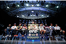 RIO DE JANEIRO, BRAZIL - AUGUST 01:  A general view of the fighters on stage during a pre-fight press conference at Circo Voador on August 1, 2013 in Rio de Janeiro, Brazil. (Photo by Josh Hedges/Zuffa LLC/Zuffa LLC via Getty Images)