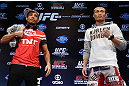 "RIO DE JANEIRO, BRAZIL - AUGUST 01:  (L-R) Opponents Jose Aldo and ""The Korean Zombie"" Chan Sung Jung"" pose for photos during a pre-fight press conference at Circo Voador on August 1, 2013 in Rio de Janeiro, Brazil. (Photo by Josh Hedges/Zuffa LLC/Zuffa LLC via Getty Images)"
