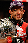 RIO DE JANEIRO, BRAZIL - AUGUST 03:  Jose Aldo reacts after his victory over