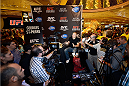 LAS VEGAS, NV - JULY 29:  UFC welterweight champion Georges St-Pierre speaks to the media during the UFC World Tour 2013 press conference in the lobby of the MGM Grand Hotel/Casino on July 29, 2013 in Las Vegas, Nevada. Georges St-Pierre will defend the UFC welterweight championship against Johny Hendricks November 16th at UFC 167 in Las Vegas.  (Photo by Jeff Bottari/Zuffa LLC/Zuffa LLC via Getty Images)