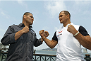 SAN FRANCISCO, CA - JULY 29: Cain Velasquez (L) and Junior dos Santos (R) square off during a UFC press tour event on July 29, 2013 in San Francisco, California.  (Photo by Jason O. Watson/Zuffa LLC/Zuffa LLC via Getty Images)