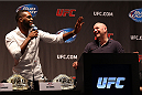 NEW YORK, NY - JULY 31:  UFC president Dana White and UFC light heavyweight champion Jon Jones interact with the fans during a press conference at the Beacon Theatre on July 31, 2013 in New York City.  (Photo by Mike Stobe/Zuffa LLC/Zuffa LLC via Getty Images)