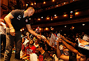 NEW YORK, NY - JULY 31:  UFC fighter Junior Dos Santos interacts with the fans during a press conference at Beacon Theatre on July 31, 2013 in New York City.  (Photo by Mike Stobe/Zuffa LLC/Zuffa LLC via Getty Images)