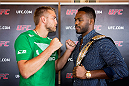 STOCKHOLM, SWEDEN - AUGUST 01: Alexander Gustafsson of Sweden (L) and Jon Jones of USA meet for a face-off during a UFC press tour event on August 01, 2013 in Stockholm, Sweden.  (Photo by Gustav Martensson/Zuffa LLC/Zuffa LLC via Getty Images)