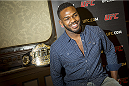 STOCKHOLM, SWEDEN - AUGUST 01:  Jon Jones of USA attends a UFC press tour event with Alexander Gustafsson of Sweden (not pictured) on August 01, 2013 in Stockholm, Sweden.  (Photo by Gustav Martensson/Zuffa LLC/Zuffa LLC via Getty Images)