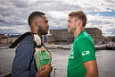 STOCKHOLM, SWEDEN - AUGUST 01: Jon Jones and Alexander Gustafsson (R) pose infront of the Swedish Royal Castel at a UFC press tour event on August 01, 2013 in Stockholm, Sweden.  (Photo by Gustav Martensson/Zuffa LLC/Zuffa LLC via Getty Images)