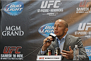 MONTREAL, CANADA - AUGUST 1: Georges St Pierre speaks to medias and fans during the Georges St Pierre and Johny Hendricks Press Tour on August 1, 2013 in Montreal, Quebec, Canada. (Francois Laplante/Zuffa LLC via Getty Images)