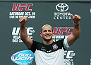 HOUSTON, TX - AUGUST 01:  UFC fighter Junior dos Santos of Brazil speaks with media and fans during an open workout at the Toyota Center to promote his October 19, title fight with Cain Velasquez on August 1, 2013 in Houston, Texas.  (Photo by Scott Halleran/Zuffa LLC/Zuffa LLC via Getty Images)