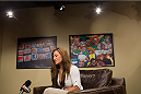 BRISTOL, CT - AUGUST 1: UFC bantamweight fighter Miesha Tate is interviewed by Luis Baraldi for Redes, an ESPN Deportes program, on August 1, 2013,  at ESPN's headquarters in Bristol, Connecticut. Tate will battle bantamweight champion Ronda Rousey in December for the title. The two were interviewed on Sportscenter, by ESPN.com, by ESPN W, on the Dan Lebatard Show and on ESPN Deportes. (Photo by Christopher Capozziello/Zuffa LLC via Getty Images).