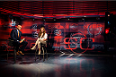 BRISTOL, CT - AUGUST 1: UFC bantamweight fighter Miesha Tate is interviewed by Sportscenter anchor Jorge Andres at ESPN's headquarters on August 1, 2013, in Bristol, Connecticut. Tate will battle bantamweight champion Ronda Rousey in December for the title. The two were interviewed on Sportscenter, by ESPN.com, by ESPN W, on the Dan Lebatard Show and on ESPN Deportes. (Photo by Christopher Capozziello/Zuffa LLC via Getty Images).
