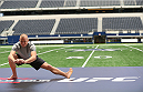 ARLINGTON, TX - AUGUST 02:  UFC fighter Georges St-Pierre during a UFC World Tour open workout ahead of a UFC Welterweight Title fight at the AT&T Stadium on August 2, 2013 in Arlington, Texas.  Georges St-Pierre and Johny Hendricks will fight on November 16 in Las Vegas, Nevada.  (Photo by Ronald Martinez/Zuffa LLC/Zuffa LLC via Getty Images)