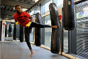 LONDON, ENGLAND - AUGUST 02:  Jon Jones training at Stars Gym during the Jon Jones and Alex Gustafsson Press Tour on August 2, 2013 in London, England.  (Photo by Christoper Lee/Zuffa LLC/Zuffa LLC via Getty Images)