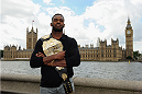 LONDON, ENGLAND - AUGUST 03:  Jon Jones poses for the camera with the Houses of Parliament in the background during the Jon Jones and Alex Gustafsson Press Tour of London on August 3, 2013 in London, England.  (Photo by Christopher Lee/Zuffa LLC/Zuffa LLC via Getty Images)