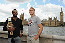 LONDON, ENGLAND - AUGUST 03:  Jon Jones (L) and Alex Gustafsson pose for the camera with the Houses of Parliament in the background during the Jon Jones and Alex Gustafsson Press Tour of London on August 3, 2013 in London, England.  (Photo by Christopher Lee/Zuffa LLC/Zuffa LLC via Getty Images)