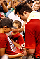 BOSTON, MA - AUGUST 14:  Chael Sonnen signs autographs for fans after an open training session for fans and media inside TD Garden on August 14, 2013 in Boston, Massachusetts. (Photo by Josh Hedges/Zuffa LLC/Zuffa LLC via Getty Images)