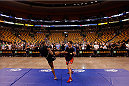 BOSTON, MA - AUGUST 14:  John Howard holds an open training session for fans and media inside TD Garden on August 14, 2013 in Boston, Massachusetts. (Photo by Josh Hedges/Zuffa LLC/Zuffa LLC via Getty Images)