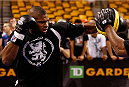 BOSTON, MA - AUGUST 14:  Alistair Overeem holds an open training session for fans and media inside TD Garden on August 14, 2013 in Boston, Massachusetts. (Photo by Josh Hedges/Zuffa LLC/Zuffa LLC via Getty Images)