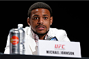 BOSTON, MA - AUGUST 15:  Michael Johnson interacts with media during a UFC press conference at the Wang Theatre on August 15, 2013 in Boston, Massachusetts. (Photo by Josh Hedges/Zuffa LLC/Zuffa LLC via Getty Images)