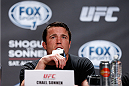BOSTON, MA - AUGUST 15:  Chael Sonnen interacts with media during a UFC press conference at the Wang Theatre on August 15, 2013 in Boston, Massachusetts. (Photo by Josh Hedges/Zuffa LLC/Zuffa LLC via Getty Images)