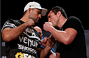 "BOSTON, MA - AUGUST 15:  (L-R) Opponents Mauricio ""Shogun"" Rua and Chael Sonnen face off during a UFC press conference at the Wang Theatre on August 15, 2013 in Boston, Massachusetts. (Photo by Josh Hedges/Zuffa LLC/Zuffa LLC via Getty Images)"
