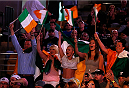 BOSTON, MA - AUGUST 16:  Fans in attendance wave Irish flags in support of Conor McGregor during the UFC weigh-in inside TD Garden on August 16, 2013 in Boston, Massachusetts. (Photo by Josh Hedges/Zuffa LLC/Zuffa LLC via Getty Images)