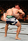 BOSTON, MA - AUGUST 17:  (R-L) Chael Sonnen secures a guillotine choke submission against Mauricio