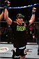 BOSTON, MA - AUGUST 17:  Chael Sonnen reacts after his submission victory over Mauricio