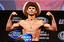 "INDIANAPOLIS, IN - AUGUST 27:  Donald ""Cowboy"" Cerrone weighs in during the UFC weigh-in event at Bankers Life Fieldhouse on August 27, 2013 in Indianapolis, Indiana. (Photo by Josh Hedges/Zuffa LLC/Zuffa LLC via Getty Images)"