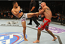 INDIANAPOLIS, IN - AUGUST 28:  (L-R) Rafael dos Anjos kicks Donald