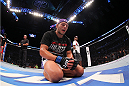 INDIANAPOLIS, IN - AUGUST 28:  Rafael dos Anjos reacts after defeating Donald