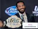 MILWAUKEE, WI - AUGUST 29:  Benson 'Smooth' Henderson interacts with media during a UFC press conference at the BMO Harris Bradley Center on August 29, 2013 in Milwaukee, Wisconsin. (Photo by Jeff Bottari/Zuffa LLC/Zuffa LLC via Getty Images)