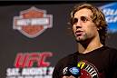 MILWAUKEE, WI - AUGUST 30:  UFC bantamweight Uriah Faber interacts with fans before the UFC 164 weigh-in inside the BMO Harris Bradley Center on August 30, 2013 in Milwaukee, Wisconsin. (Photo by Ed Mulholland/Zuffa LLC/Zuffa LLC via Getty Images) *** Local Caption *** Uriah Faber